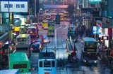 Traffic on a street at night, Des Voeux Road Central, Central District, Hong Kong Island, Hong Kong