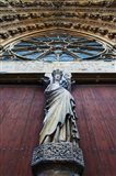 Virgin Mary statue with Jesus Christ at Reims Cathedral, Reims, Marne, Champagne-Ardenne, France