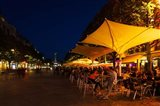 People at sidewalk cafes in a city, Place Drouet d'Erlon, Reims, Marne, Champagne-Ardenne, France