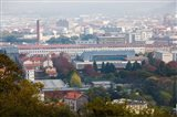 Aerial view of city and Michelin tire factory from Parc de Montjuzet, Clermont-Ferrand, Auvergne, Puy-de-Dome, France