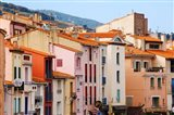 Low angle view of buildings in a town, Collioure, Vermillion Coast, Pyrennes-Orientales, Languedoc-Roussillon, France