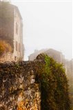 View of a town in fog, Cordes-sur-Ciel, Tarn, Midi-Pyrenees, France