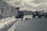 Boats at Quai de la Daurade, Toulouse, Haute-Garonne, Midi-Pyrenees, France (black and white)