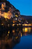 Buildings lit up at evening, Dordogne River, La Roque-Gageac, Dordogne, Aquitaine, France