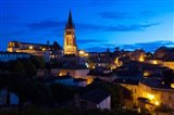 Elevated view of a Town with Eglise Monolithe Church at Dawn, Saint-Emilion, Gironde, Aquitaine, France