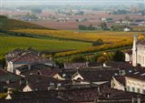 Elevated town view with Vineyards, Saint-Emilion, Gironde, Aquitaine, France