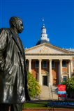 Statue with a State Capitol Building in the background, Annapolis, Maryland, USA
