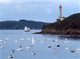 Boats and lighthouse at Phare Du Portzic, Goulet De Brest, Finistere, Brittany, France