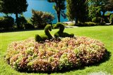 Topiary and flower bed in a garden, Villa Carlotta, Tremezzo, Como, Lombardy, Italy