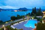 Aerial view of a swimming pool at hotel, Villa e Palazzo Aminta, Isola Bella, Stresa, Lake Maggiore, Italy