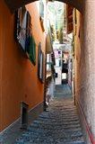 Town steep street, Varenna, Como, Lombardy, Italy