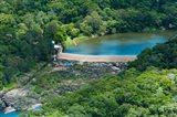 Aerial view of a dam on Barron River, Kuranda, Cairns, Queensland, Australia