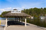 Town dock and cottages at Port Carling, Ontario, Canada