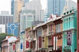 Restored buildings against the modern buildings, Chinatown, Singapore