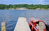 Motorboat moored at a pier, Gravenhurst Bay, Gravenhurst, Ontario, Canada