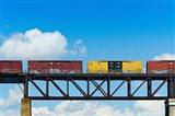 Freight train passing over a bridge, Ontario, Canada
