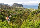 High angle view of Porto da Cruz and Penha de Aguia from Portela, Madeira, Portugal