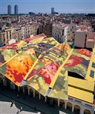 High angle view of Santa Caterina Market with cityscape in the background, Barcelona, Catalonia, Spain