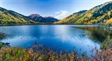 Crystal Lake surrounded by mountains, Ironton Park, Million Dollar Highway, Red Mountain, San Juan Mountains, Colorado, USA