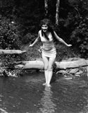 1920s Long-Haired Woman In Bathing Suit
