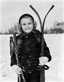 1930s Little Girl Standing Holding Skis