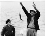 1950s 1960s Boy Fishing With Father Or Grandfather