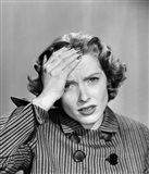 1950s Stressed Woman In Striped Dress