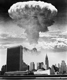 1950s 1960s Mushroom Cloud Over United Nations Building