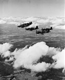 1940s 6 Navy Corsairs Above The Clouds