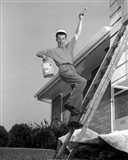 1960s Man Falling Off Of Ladder