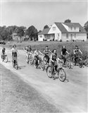 1950s Group Of  Boys And Girls Riding Bicycles