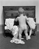 1930s Rear End View Of Naked Baby