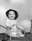 1960s Baby Girl Wearing Fishing Hat