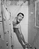 1950s Man In Shower