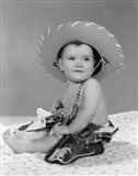 1960s Baby Girl Wearing Cowboy Hat