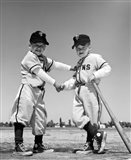 1960s Pair Of Little Leaguers In Uniform