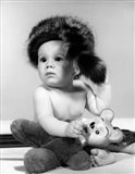 1960s Baby Wearing Coonskin Hat