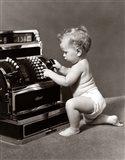 1930s 1940s Salesperson Baby Wearing Diaper