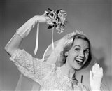 1950s Bride Throwing Bouquet