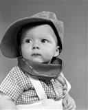 1950s Baby Head & Shoulders Wearing Railroad Engineer Hat