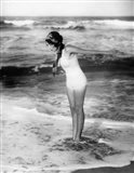 1920s Woman Wearing Bathing Suit & Head Scarf