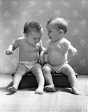 1930s 1940s Twin Babies Wearing Diapers Together
