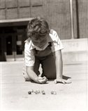 1950s Smiling Boy On School Yard Ground Playing