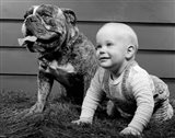 1950s 1960s Baby Seated Next To Bulldog In Grass