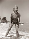 1950s Blonde Woman In Strapless Low Cut Bathing Suit