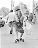 1960s 1970s A Shopping Bag Lady With Funny Facial Expression