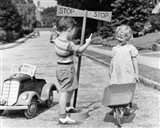 1930s 1940s Boy Playing Traffic Cop