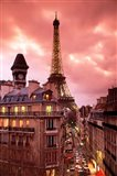 Paris Street Scene with Eiffel Tower and Red Sky