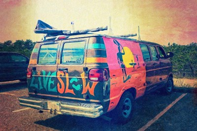 Beach Van at Sunset Poster by Graffi*tee Studios for $42.50 CAD