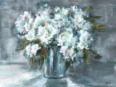 White Hydrangeas on Gray Landscape Poster by Tre Sorelle Studios for $38.75 CAD